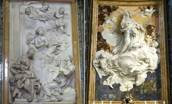 Reliefs by Antonio Raggi in S. Andrea della Valle and by Melchiorre Caffa in S. Caterina a Magnanapoli