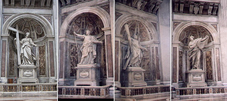 St. Helena by Andrea Bolgi, St. Longinus by Gian Lorenzo Bernini, St. Andrew by Fran�ois Duquesnoy and St. Veronica by Francesco Mochi