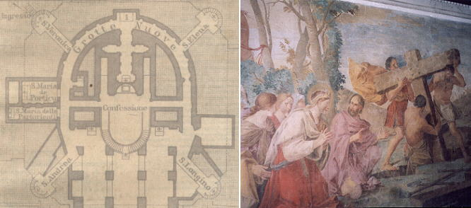 Plan of the Vatican Grottoes and a painting showing an episode related to St. Helena in the corridor leading to the chapel of St. Longinus