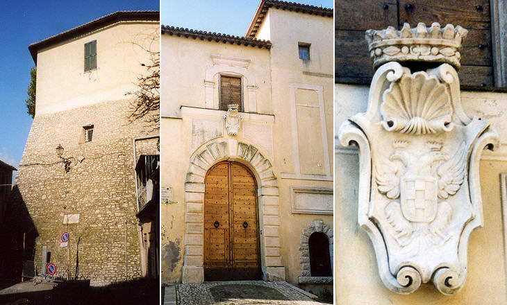 Coat of arms at the entrance of Castello Orsini and detail of the fresco in S. Sebastiano