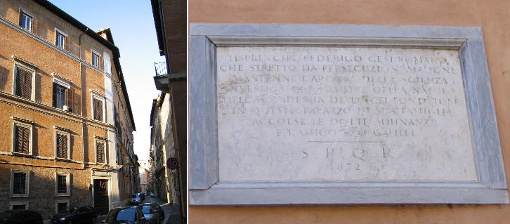Palazzo Cesi and inscription commemorating Federigo Cesi