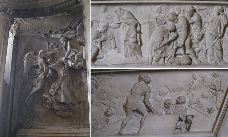 (left) Estasi di S. Francesco by Francesco Baratta; (right) details of the reliefs of the monuments