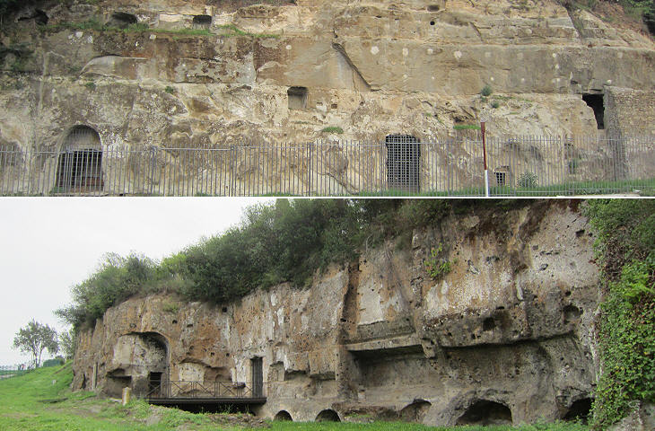 Tombs cut into the rock