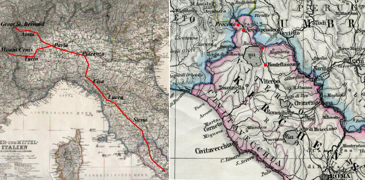 Map of Italy showing in red Via Francigena and detail of its section covered in this page