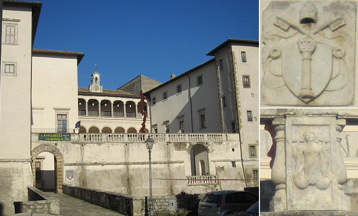 Main view of Palazzo Colonna and heraldic symbols