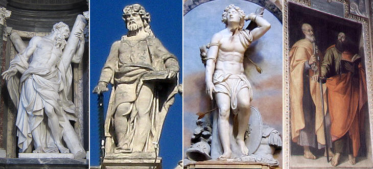 St. Andrew in S. Giovanni in Laterano by Camillo Rusconi, S. Simone in S. Pietro by Bernardo  Cennini, St Sebastian in S. Agnese in Agone by Pietro Paolo Campi, St Peter and St Paul in S. Maria ai Monti