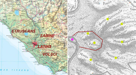 Maps of Latium and of the seven hills of Rome