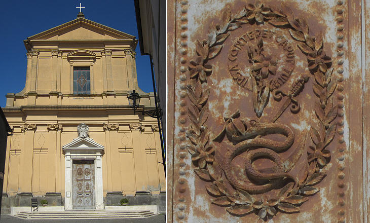 Chiesa dell'Assunta: (left) fa�ade; (right) detail of the door
