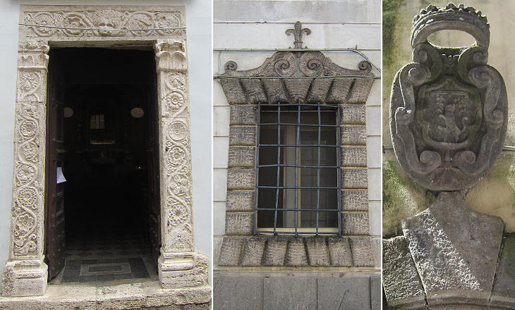 (left) Portal of S. Croce; (centre) with the Farnese fleur-de-lys; (right) coat of arms of Canino as part of the Duchy of castro