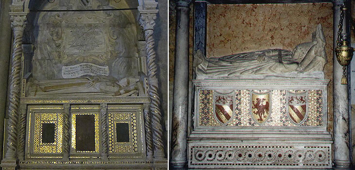 Gisants of Adrian V (1276) in S. Francesco (Viterbo) and of Honorius IV in S. Maria in Aracoeli