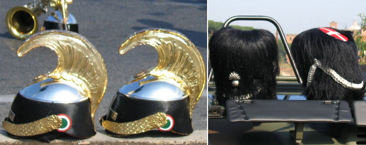 Helmets of the Corazzieri (Presidential Guard) and of an old regiment