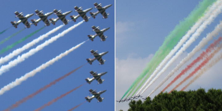 The Frecce Tricolori acrobatic flight team closes the parade
