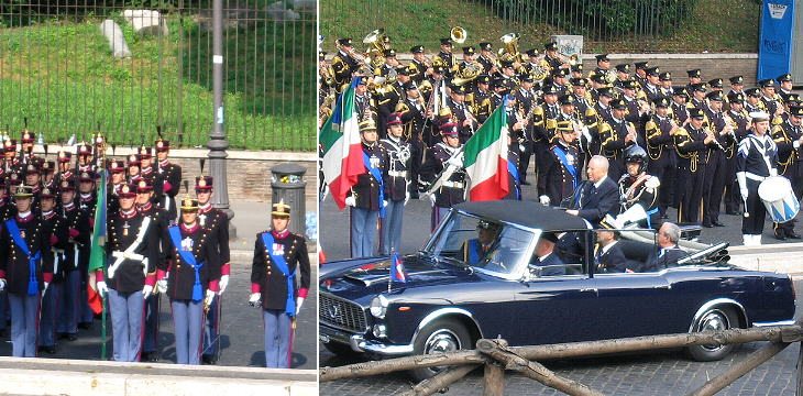 The President of the Republic, Carlo Azeglio Ciampi reviews the troops before the parade (2005): his car is a 1950s Lancia