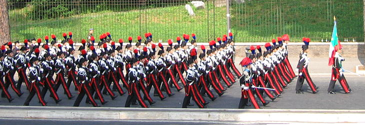 The parade begins: Carabinieri, a sort of territorial police force, wear a black uniform in remembrance of their dead