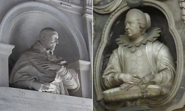 Monument to Cardinal Garcia Millini (1638) by Alessandro Algardi in S. Maria  del Popolo and Monument to Virginia Primi Bonanni (1648) by Giuliano Finelli in  S. Caterina da Siena a Magnanapoli