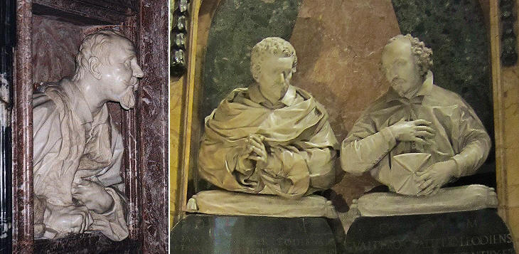 Monument to Gabriele Fonseca (1661)  by Gian Lorenzo Bernini in S. Lorenzo in Lucina, Monument to Johannes Savenier (1638) by Alessandro Algardi  and Monument to Gualtiero Gualteri de Castro (1659) by Ercole Ferrata in S. Maria dell'Anima