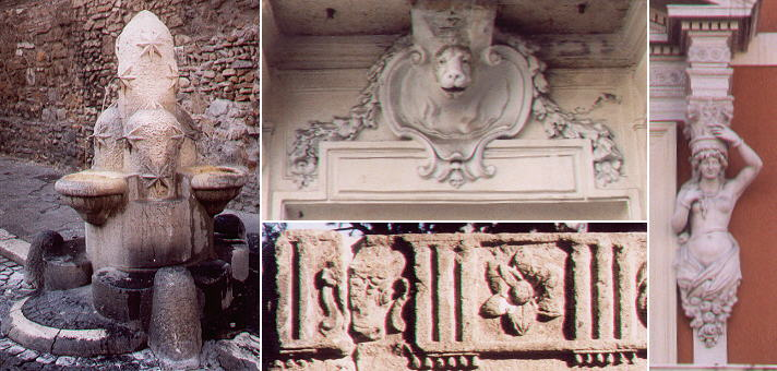 Fountain with the symbol of Rione Monti near SS. Vito e Modesto,  XVIIIth century decoration of a building  in Piazza alli Monti, decoration of a Roman tomb in Piazza di Porta Maggiore and  a detail of an early XXth century building near S. Bernardo alle Terme