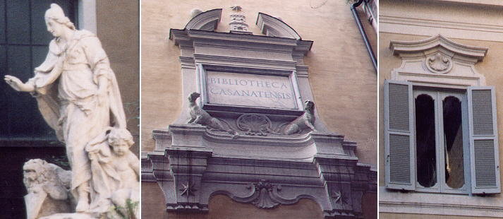 Fountain showing a personification of Venice in Palazzo Venezia,  inscription above the entrance of Biblioteca Casanatense in Convento Dominicano, a window  of Palazzo Gabrielli next to Palazzo Marescotti