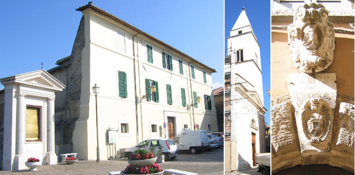 Main square, parish church and detail of Palazzo Liberati
