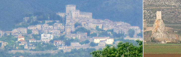 View of Sermoneta and a watching tower
