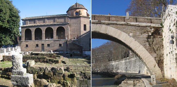 (left) The site of some very ancient Roman temples near S. Omobono; (right) A detail of Ponte Fabricio showing its tufa structure