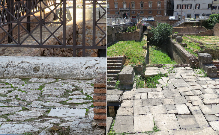 (left) Fonte di Giuturna near S. Maria Antiqua: (right) detail of the Republican temples in  Largo di Torre Argentina