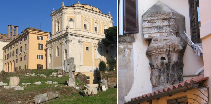 Ruins of Tempio di Bellona (behind it Chiesa di S. Rita); a remaining column of a temple trapped in a house near Portico d'Ottavia