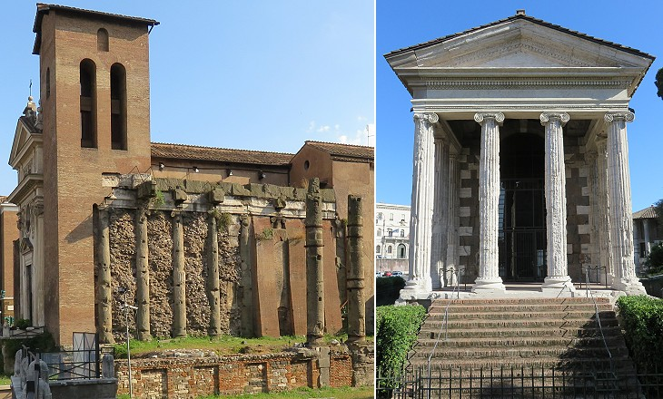 Temples of Foro Olitorio now included in S. Nicola in Carcere;  Temple of Portunus