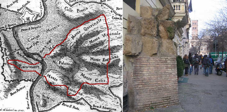 (left) Map of the so-called Servian walls; (right) A section of the Servian walls found in the XIXth century near SS. Vito e Modesto