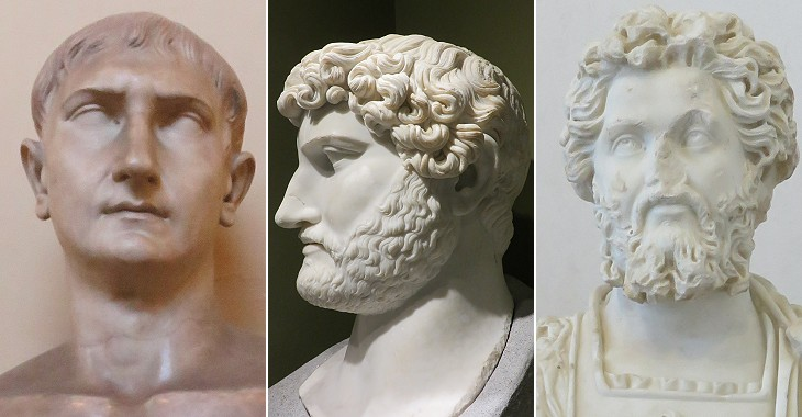 (left to right) Clean shaven emperor (Trajan); emperor with a light beard (both in the  courtyard of Palazzo Mattei); complex beard of a Roman portrayed  in Arco di Settimio Severo