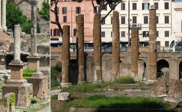 Honorary Columns in Foro Romano (behind them Chiesa dei SS. Luca e Martina); temple in Largo di Torre Argentina
