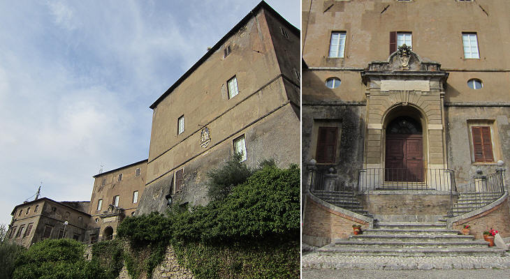 (left) Rocca Abbaziale; (right) portal built at the time of Pope Pius VI