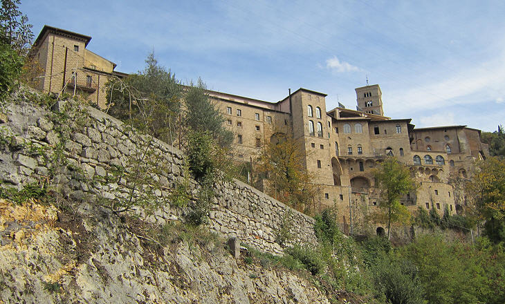 S. Scolastica seen from the road from Subiaco