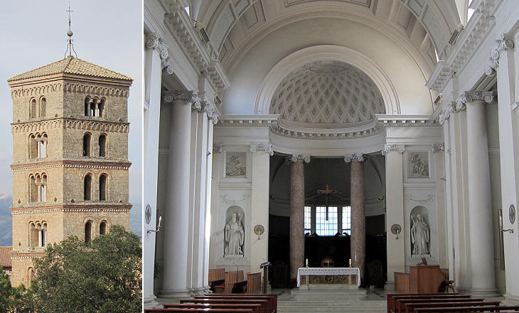 S. Scolastica: (left) bell tower; (right) interior of the church