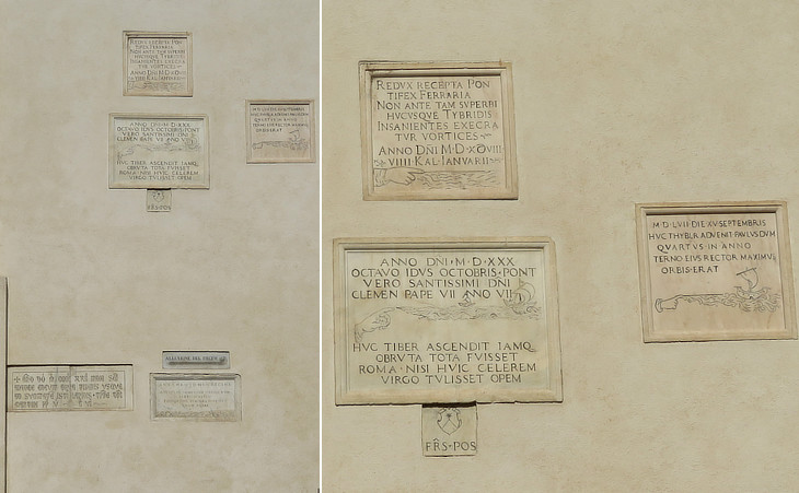 Inscriptions marking the level reached by the Tiber