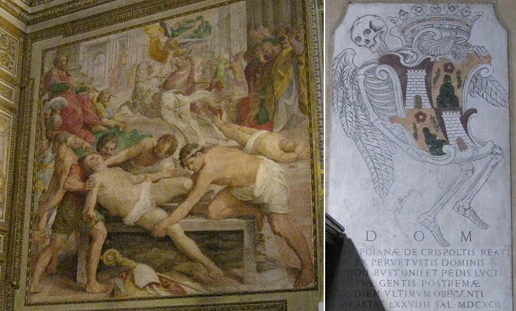 (left) Martyrdom of S. Eleuterio by Cesare Nebbia and Giovan Battista Pozzo; (right) 1692 Monument to Giulia Poiana de' Crispolti