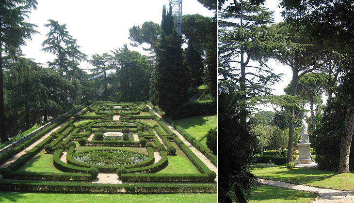 Sections of the gardens arranged in different styles