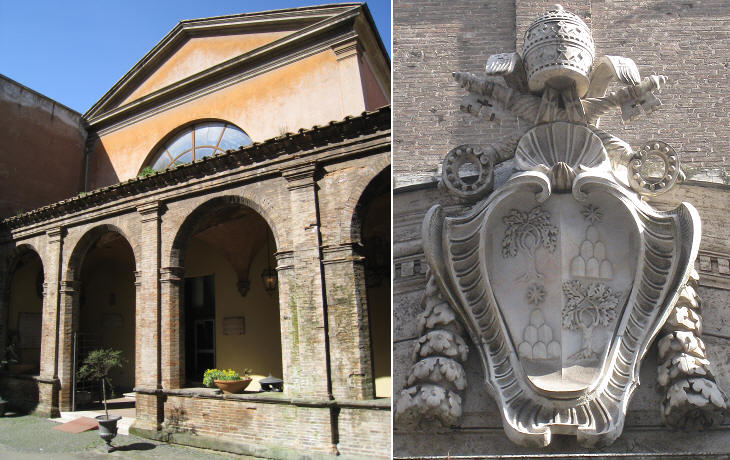 (left) Entrance to the ward added by Pope Alexander VII (today it houses the Historical Medical Museum); (right) coat of arms of Pope Alexander VII