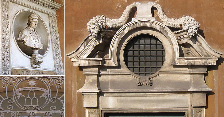 (left-above) Bust of Pope Clement XI; (left-below) heraldic symbol of the pope; (right) one of the two main entrances