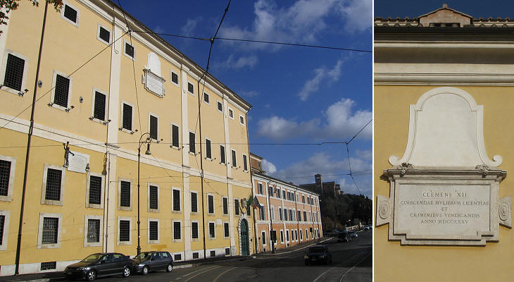 Prison for women: (left) fa�ade and in the background the Aventine hill; (right) inscription