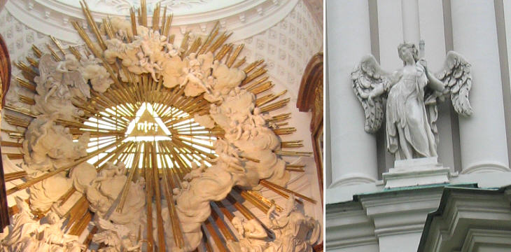 Karlskirche: decoration of the main altar and angel holding the nail