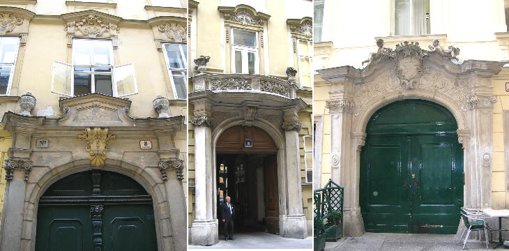 Traditional baroque portals in Annagasse 8, Johannesgasse 5 and in Dorotheergasse 2 (Bartolotti Palace)