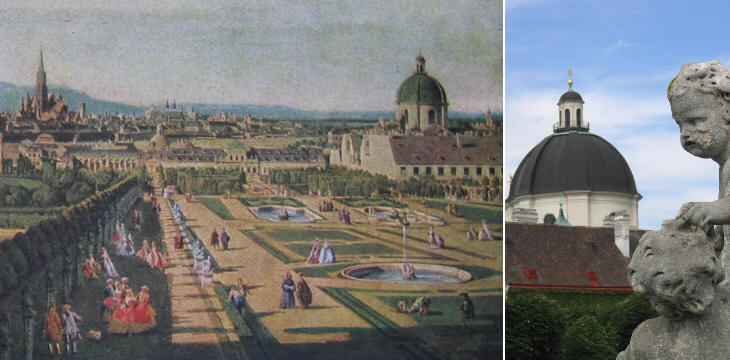 Dome of Salesianerinnenkirche in a painting by Bernardo Bellotto seen from the Belvedere