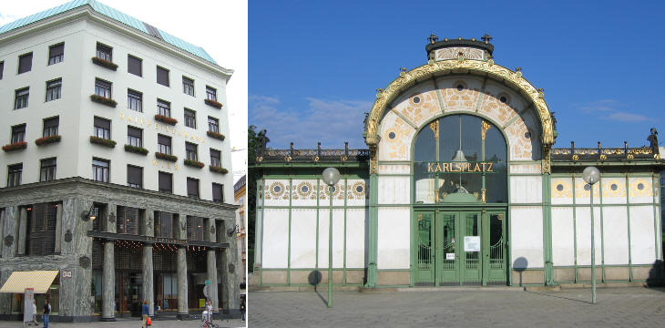 Looshaus and one of the Wagner-Pavillons