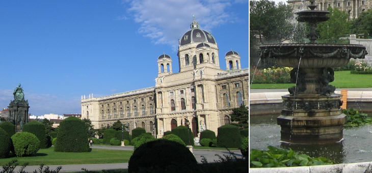 Naturhistorisches Museum and Maria-Theresien-Platz; fountain in Volksgarten