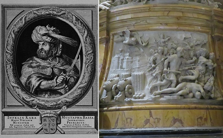 Portrait of Mustafa Kara and relief in the monument to Pope Innocent XI in St. Peter's in Rome