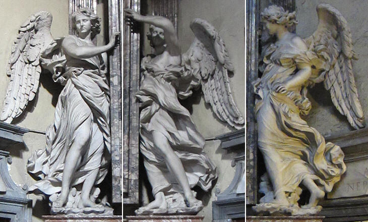 baroque angels in the streets and churches of rome