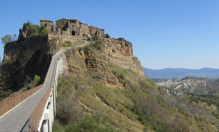 the modern pedestrian bridge leading to civita