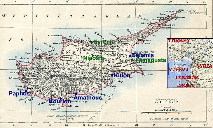 Ancient towns on venus island cyprus cyprus from 1897 world atlas printed by w a k johnston blue dots ancient towns covered in this section green dots other towns covered in a gumiabroncs Image collections