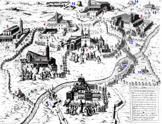 The Seven Basilicas In A Guide To Rome - Rome map cartoon